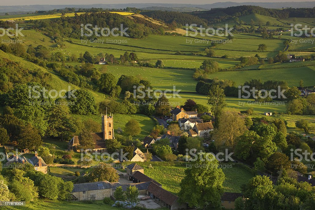 Evening light in spring at Corton Denham, Somerset stock photo