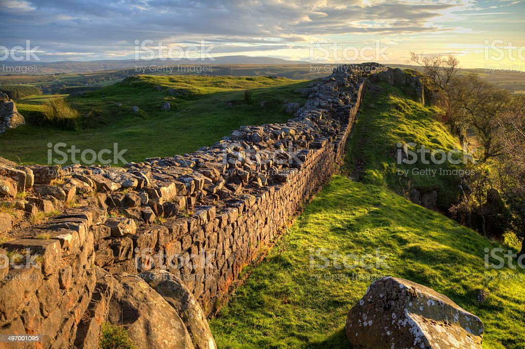 Evening Light on Hadrian's Wall stock photo