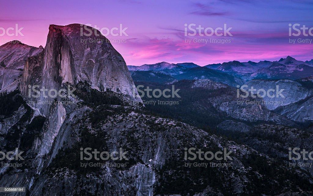 Evening Light on Half Dome stock photo