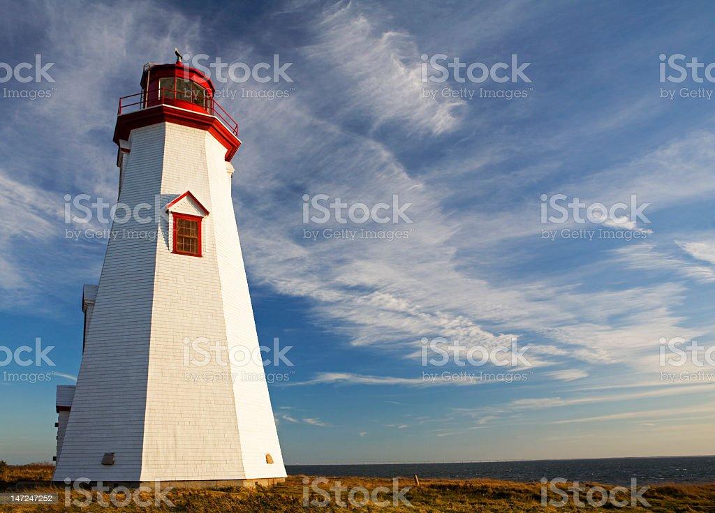 Evening light on lighthouse stock photo