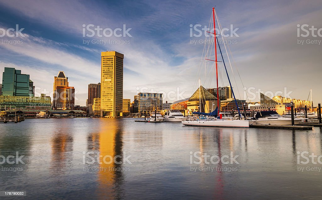 Evening light on the Inner Harbor, Baltimore, Maryland stock photo