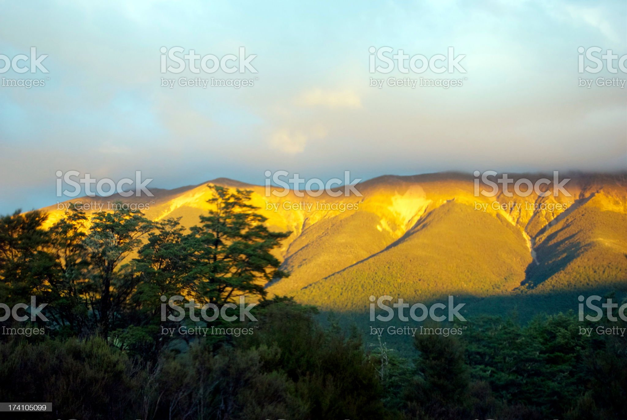 Evening Light on the St Arnaud Ranges, Nelson Lakes, NZ royalty-free stock photo