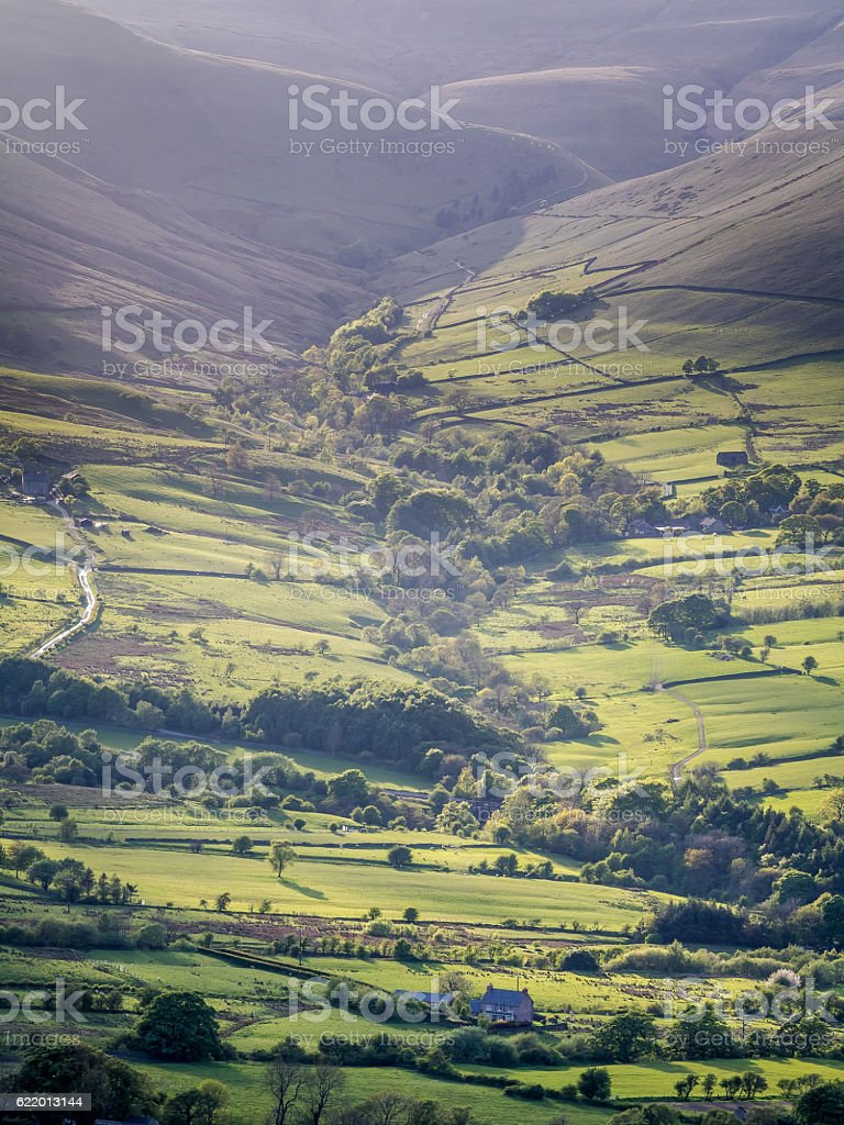 Evening Light over Edale stock photo