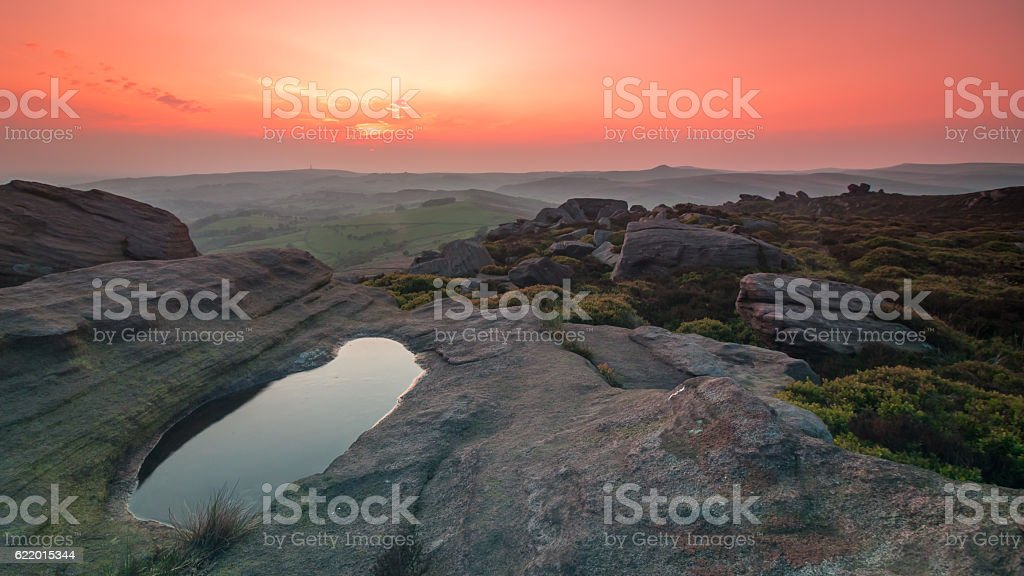 Evening Light over The Roaches stock photo