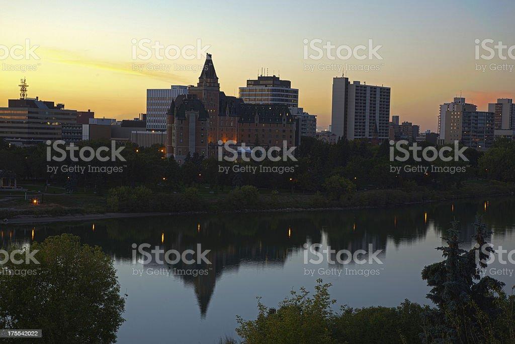 Evening Light Overr South Saskatchewan River in Downtown Saskatoon royalty-free stock photo