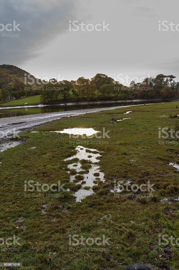 Evening light, river, Wales stock photo