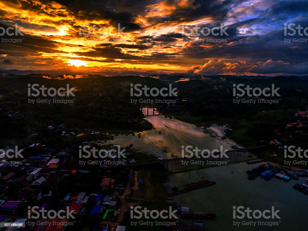 Evening light, with the village in the valley stock photo