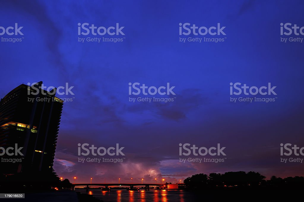 Evening lightning storm royalty-free stock photo