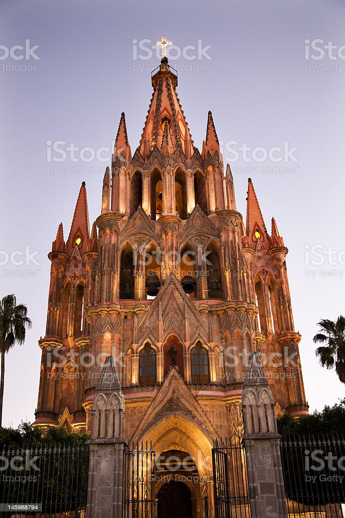 Evening Lights Parroquia Archangel Church San Miguel Mexico royalty-free stock photo