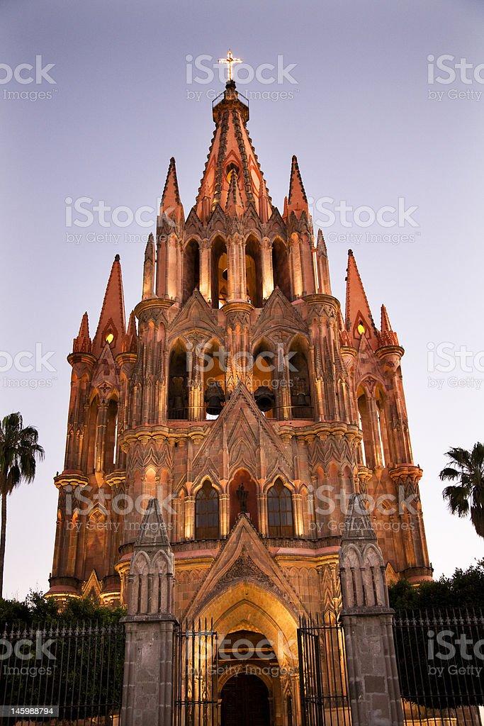 Evening Lights Parroquia Archangel Church San Miguel Mexico stock photo