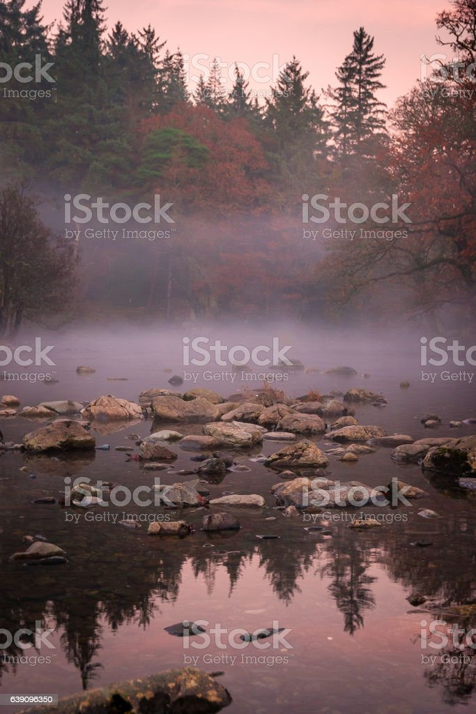 Evening mist over the River Llugwy stock photo