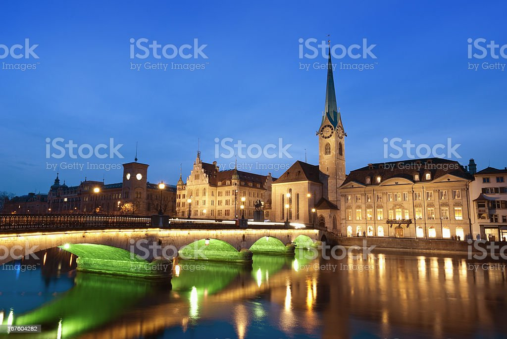 Evening moments in Zurich royalty-free stock photo