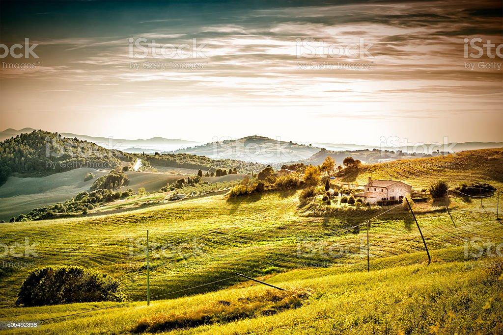 Evening mood landscape Tuscany stock photo