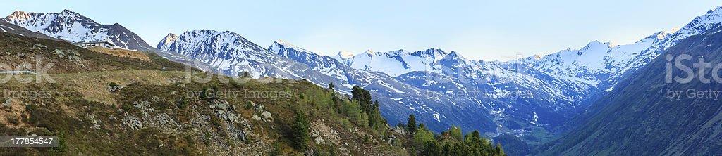 Evening mountain landscape (Timmelsjoch, Austria ) royalty-free stock photo