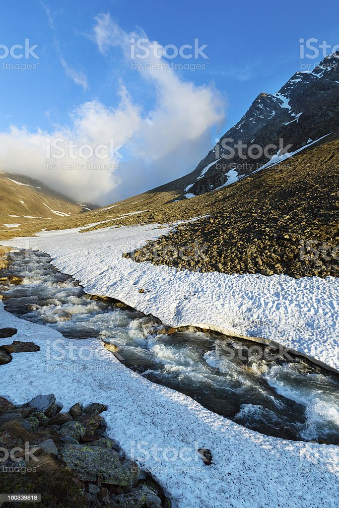 Evening mountain stream and sunset (Timmelsjoch, Austria ) royalty-free stock photo