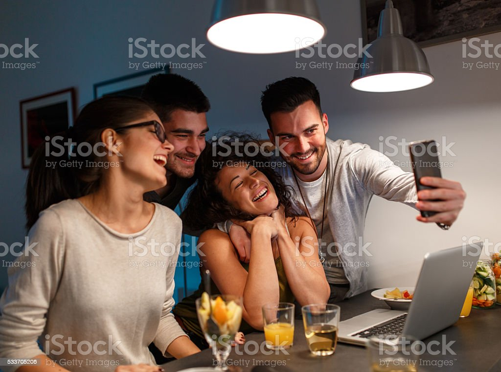 Evening movie party stock photo