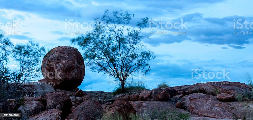 Evening near Devils Marbles, Australia stock photo