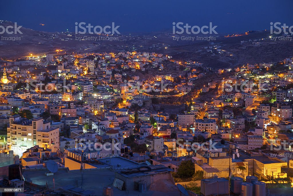Evening neighbourhood among hiils, Bethlehem stock photo