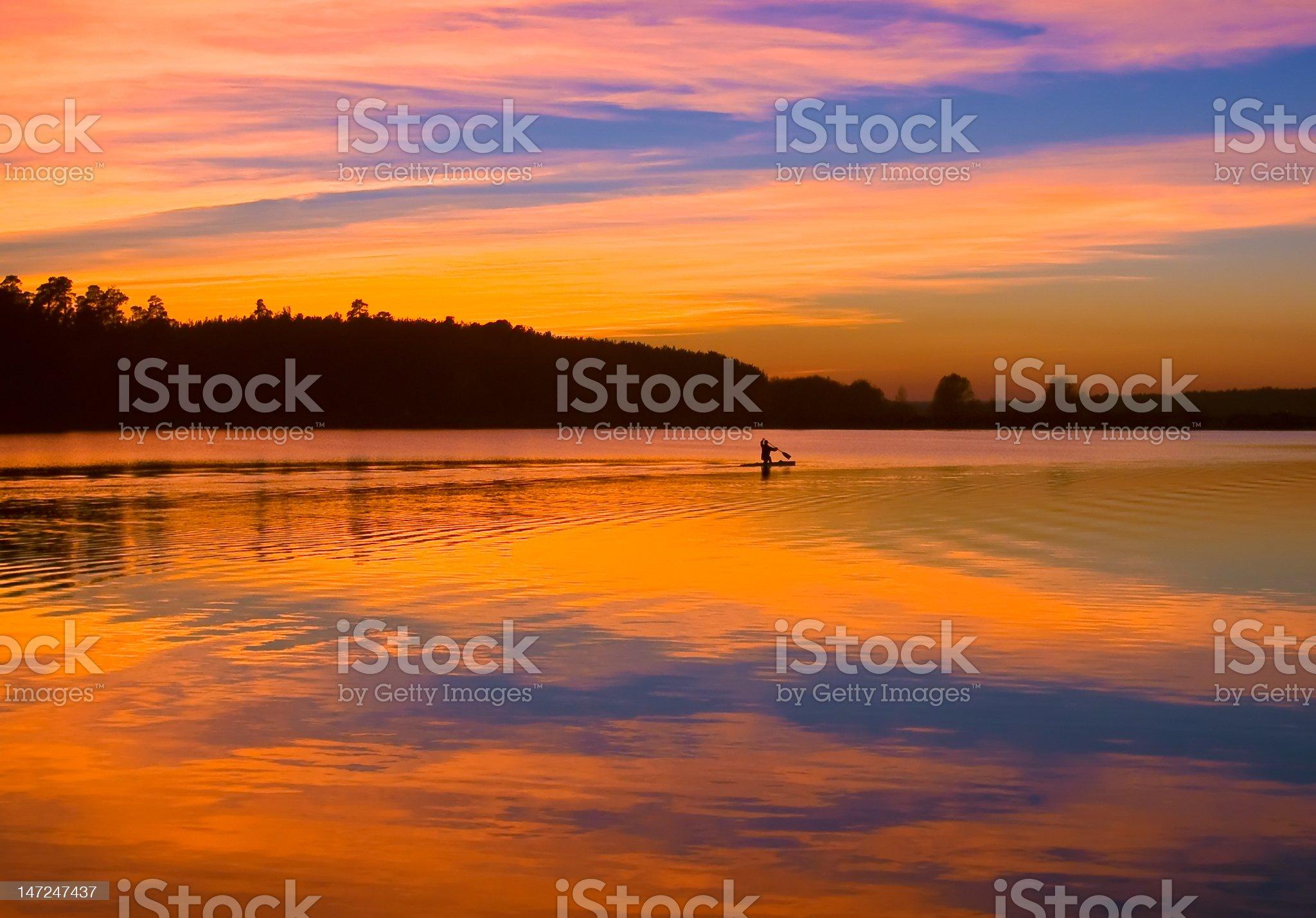 Evening oarsman royalty-free stock photo