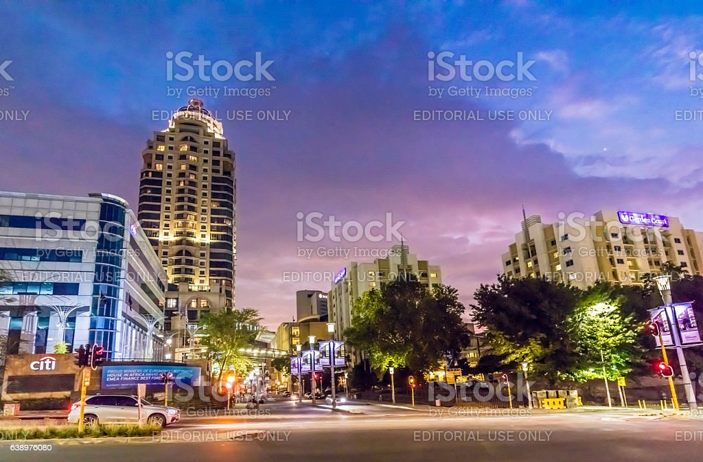 Evening of Sandton city centre with Michelangelo tower stock photo