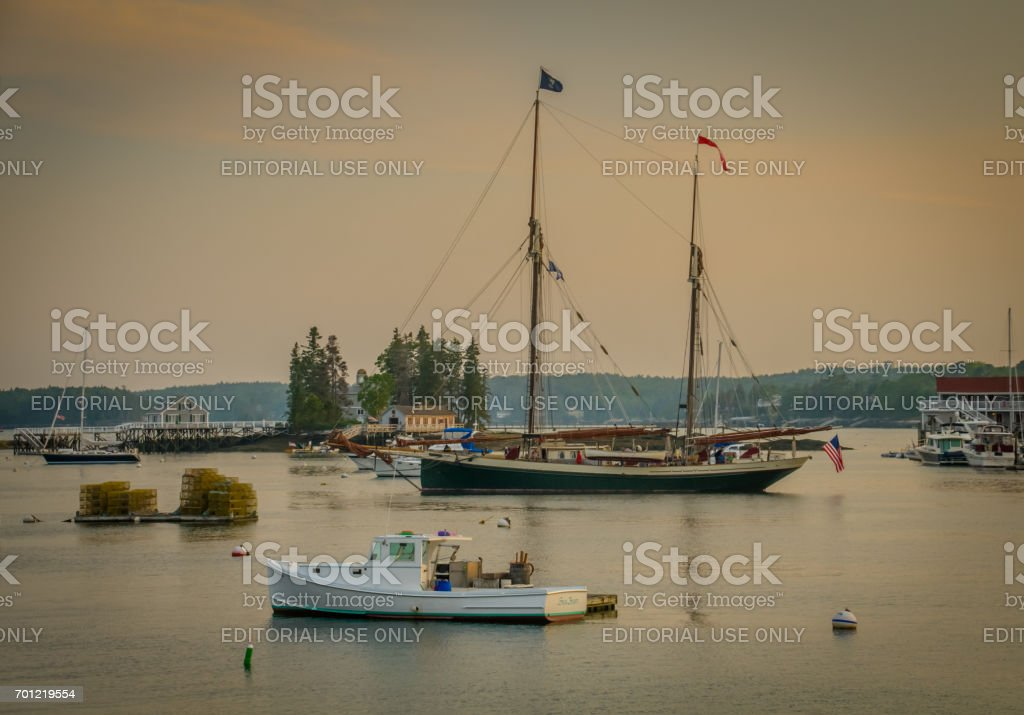 Evening on Boothbay Harbor stock photo