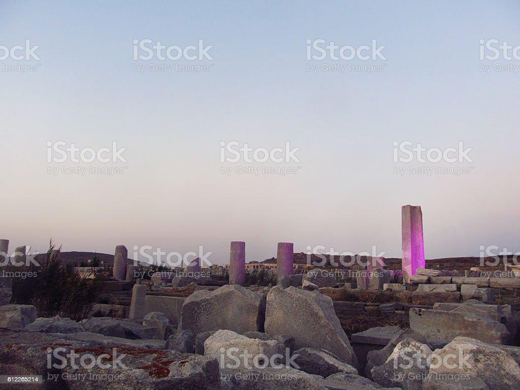 Evening on Delos island stock photo