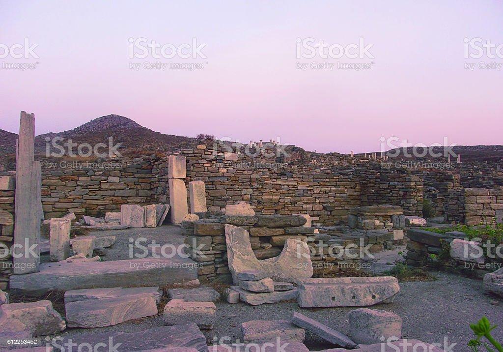 Evening on Delos, the island of Apollo stock photo