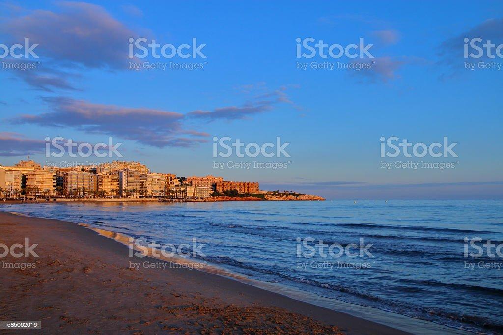 Evening on the coast of Spain. stock photo