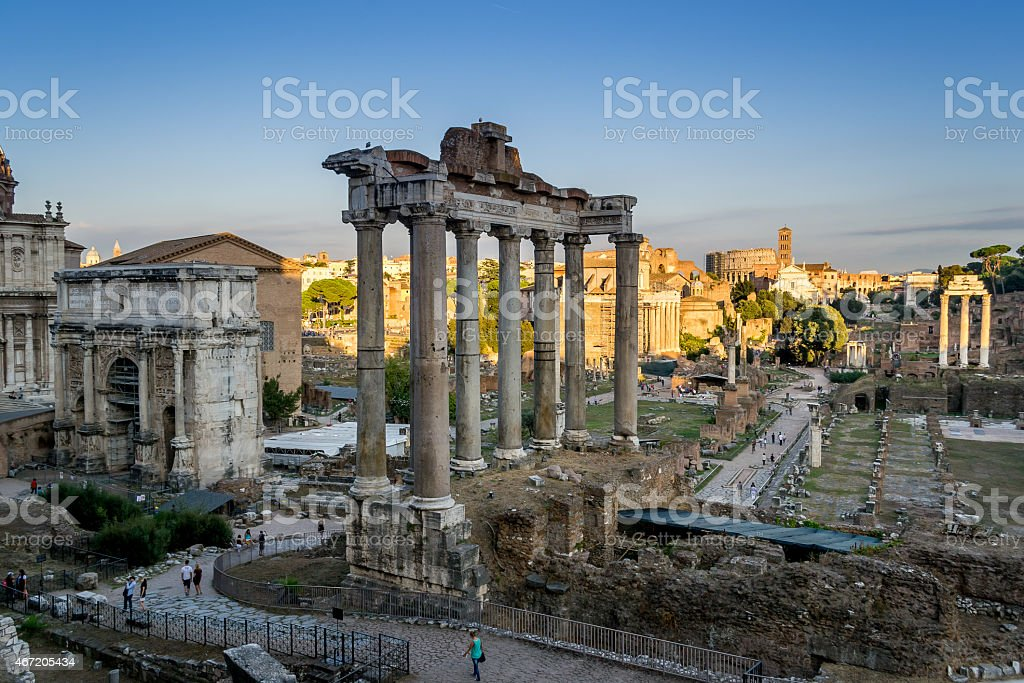Evening on the Forum Romanum, Rome stock photo
