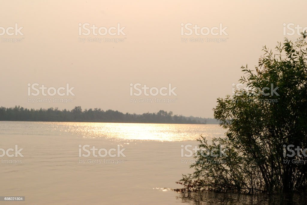 Evening on the Irtysh River, Omsk region, Siberia, Russia stock photo