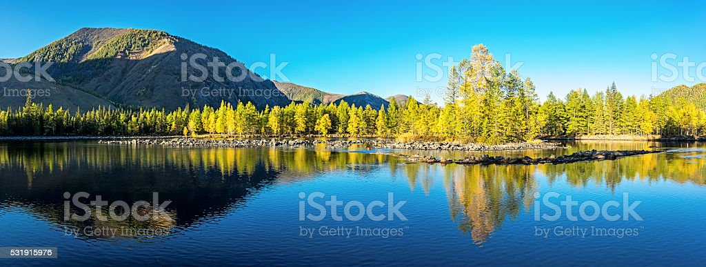 Evening on the river Zhombolok stock photo