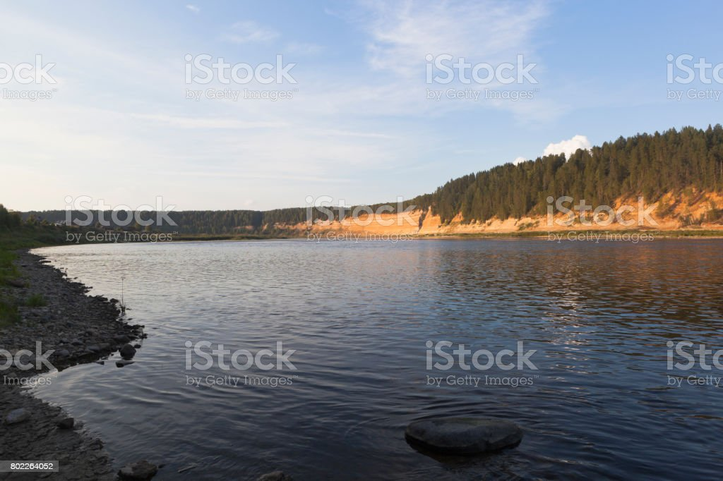 Evening on the Sukhona River in the Opoki Tract stock photo
