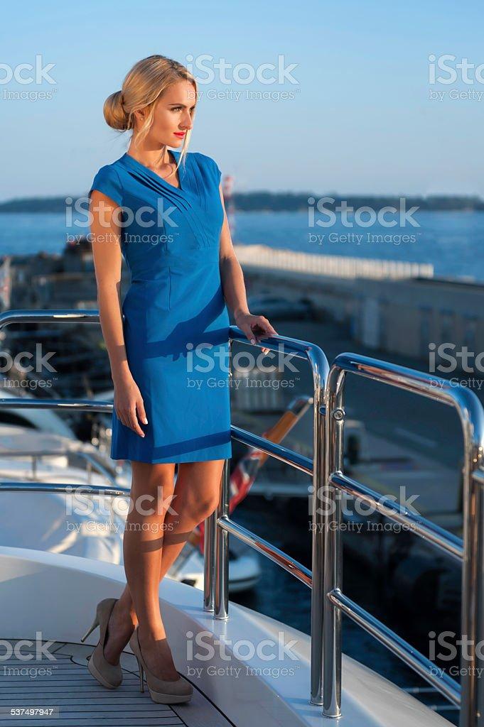 Evening on yacht stock photo