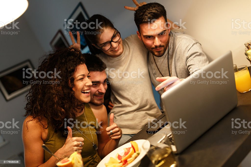Evening online party stock photo
