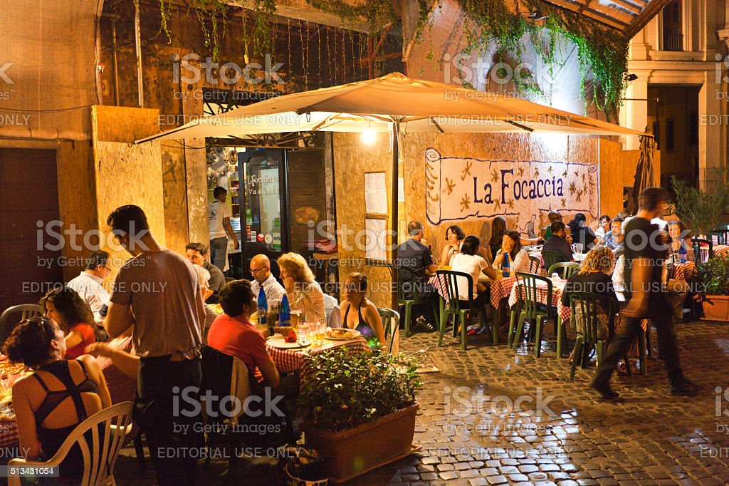 Evening Outdoor Street Restaurants Night Life of Rome stock photo