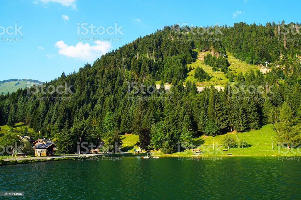 Evening over Chatel, French village in the Alps Mountains stock photo