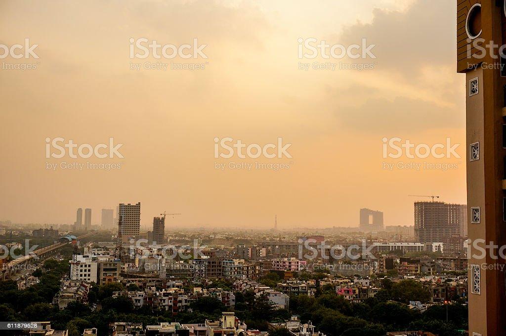 Evening over Noida delhi buildings stock photo