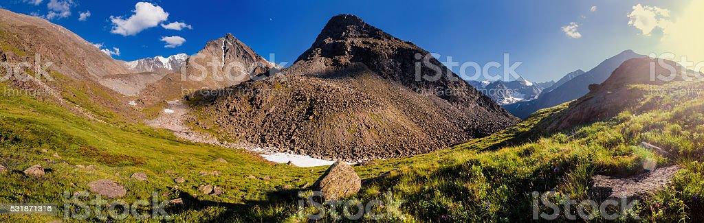 evening panorama - Altai mountains stock photo