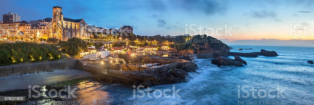 Evening panorama of Biarritz stock photo