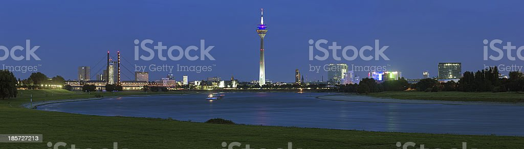 Evening panorama of Dusseldorf with Rheinturm TV tower, Germany royalty-free stock photo