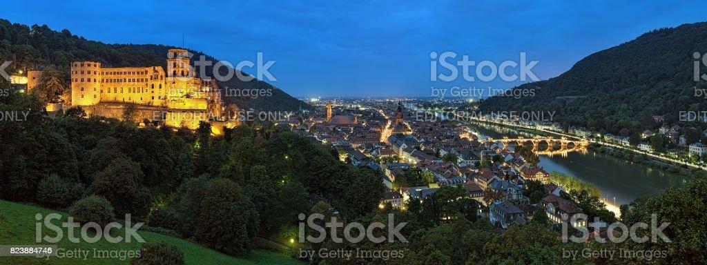 Evening panorama of Heidelberg with Heidelberg Castle, Germany stock photo