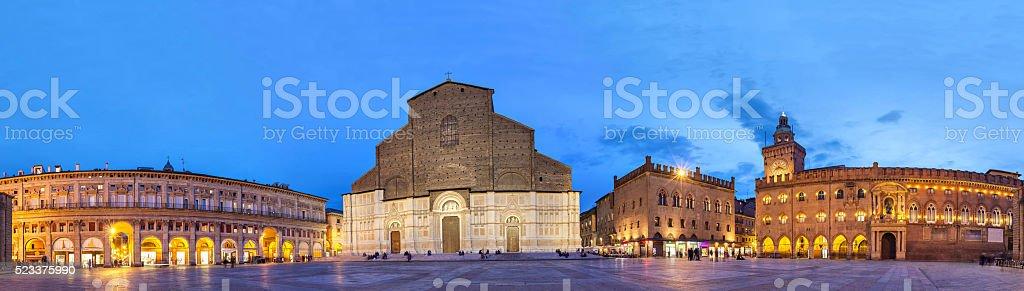 Evening panorama of Piazza Maggiore, Bologna stock photo