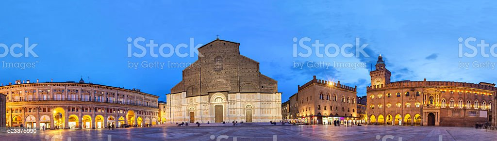 Evening panorama of Piazza Maggiore, Bologna stock photo
