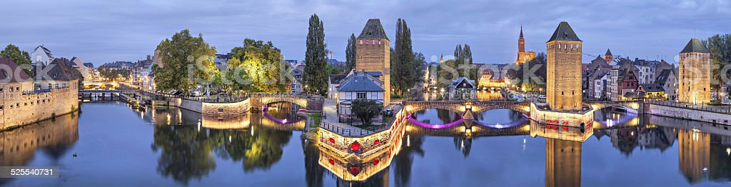 Evening panorama of Pont Couverts in Strasbourg stock photo
