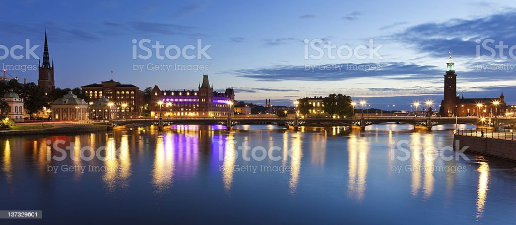 Evening panorama of the Old Town in Stockholm, Sweden royalty-free stock photo