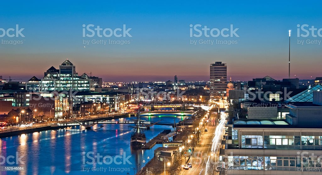 Evening Panorama Over the River Liffey stock photo
