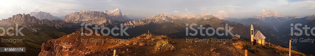 Evening panoramic view from mount Col DI Lana stock photo