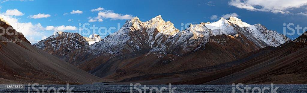 Evening panoramic view of Great Himalayan range stock photo