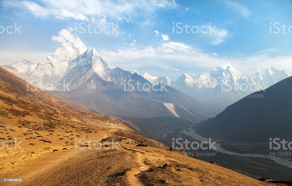Evening panoramic view of mount Ama Dablam stock photo