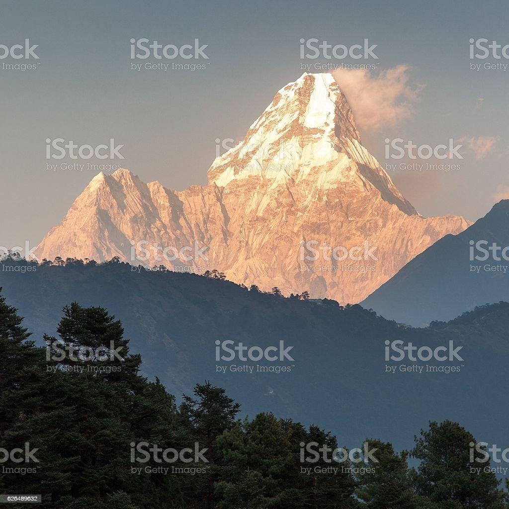 Evening panoramic view of mount Ama Dablam stock photo